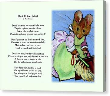 Dust If You Must With Beatrix Potter Mouse Canvas Print by Joyce Geleynse
