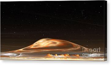 Canvas Print featuring the digital art Dust Storm On The Red Planet by Richard Ortolano