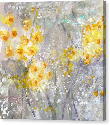 Dusty Miller- Abstract Floral Painting Canvas Print by Linda Woods