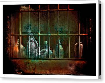 Dusty Old Bottles Canvas Print by Mal Bray