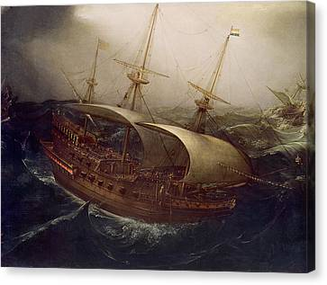 Dutch Battleship In A Storm Canvas Print by Hendrick Cornelisz Vroom