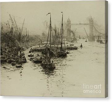 Dutch Eel Boats In The Pool Of London Canvas Print by MotionAge Designs