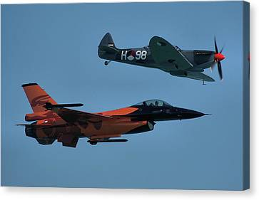 Dutch F-16 And Spitfire Canvas Print by Tim Beach