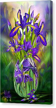 Dutch Iris In Iris Vase Canvas Print by Carol Cavalaris