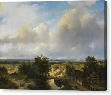 Dutch Landscapes Canvas Print - Dutch Landscape With A View Of Haarlem by Andreas Schelfhout