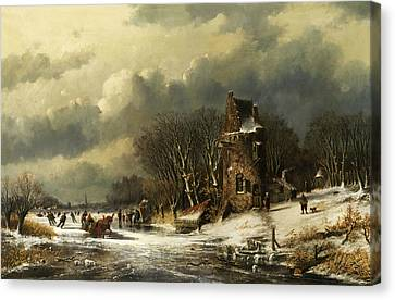 Landscape With Figure Canvas Print - Dutch Landscape With Figures by Andreas Schelfhout