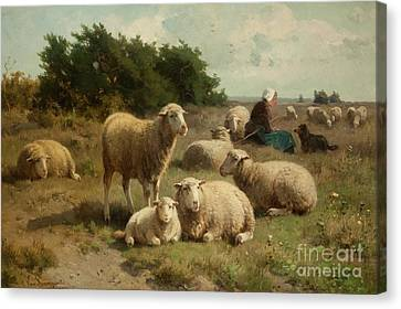 Dutch Landscape With Shepherdess Canvas Print