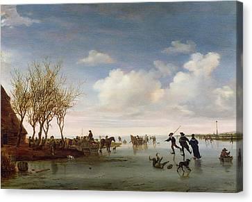 Dutch Landscapes Canvas Print - Dutch Landscape With Skaters by Salomon van Ruysdael
