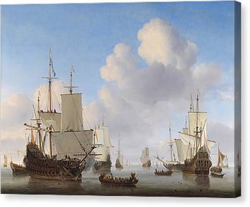 Dutch Ships In A Calm Canvas Print by War Is Hell Store