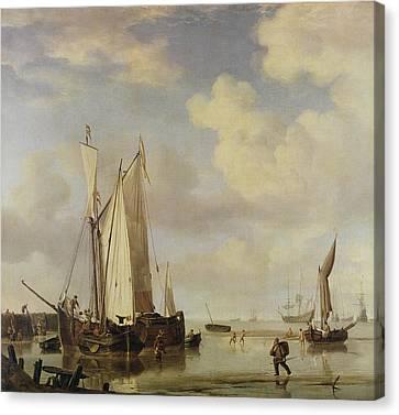 Dutch Vessels Inshore And Men Bathing Canvas Print by Willem van de Velde