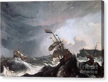 1690 Canvas Print - Dutch Warships In Trouble Off Gibraltar by MotionAge Designs