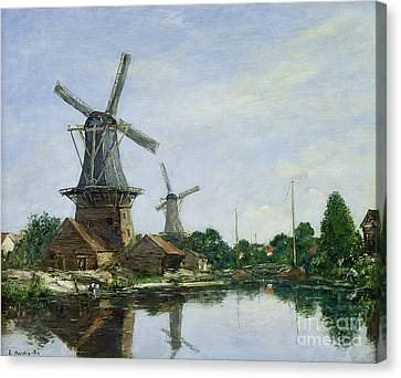 Dutch Windmills Canvas Print by Eugene Louis Boudin