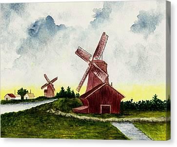 Dutch Windmills Canvas Print by Michael Vigliotti