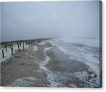 Canvas Print featuring the photograph Duxbury Beach Foam by Conor Murphy
