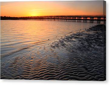 Duxbury Beach Powder Point Bridge Sunset Canvas Print by John Burk