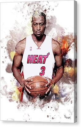 Dwayne Wade, Miami Heat Canvas Print by Afrio Adistira