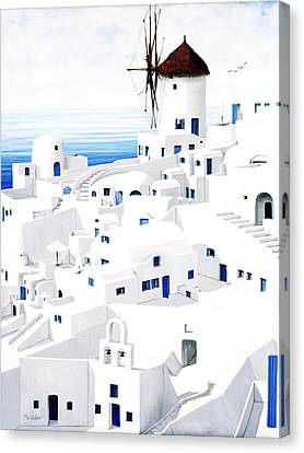 Dwellings, Santorini - Prints From Original Oil Painting Canvas Print by Mary Grden Fine Art Oil Painter Baywood Gallery