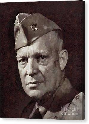 Dwight Eisenhower, President United States And General By Sarah Kirk Canvas Print by Sarah Kirk
