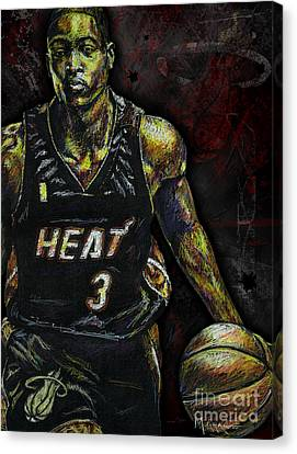 Hoops Canvas Print - Dwyane Wade by Maria Arango