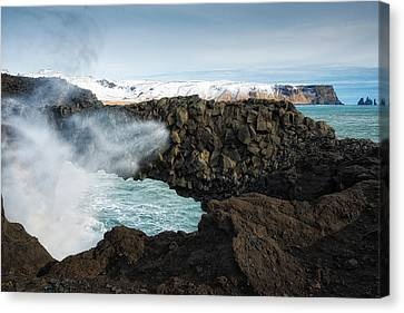 Canvas Print featuring the photograph Dyrholaey Rock Arch Iceland by Matthias Hauser