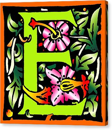 E In Green Canvas Print by Kathleen Sepulveda