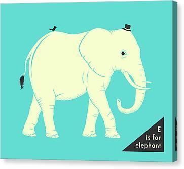 Elephants Canvas Print - E Is For Elephant by Jazzberry Blue
