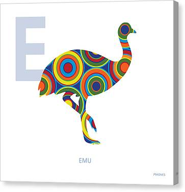 Emu Canvas Print - E Is For Emu by Ron Magnes
