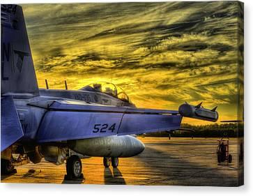 Ea-18g Growler Sunset Canvas Print