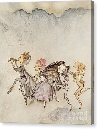 Fairies Canvas Print - Each One, Tripping On His Toe, Will Be Here With Mop And Mow by Arthur Rackham