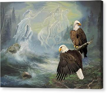 Eagels And Native American  Spirit Riders Canvas Print by Regina Femrite