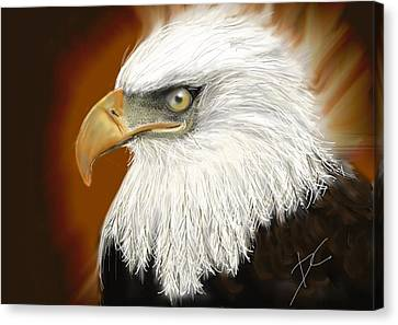 Canvas Print featuring the digital art Eagle American by Darren Cannell