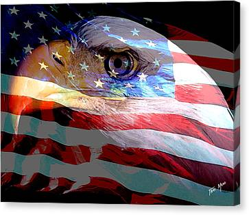 Eagle And Flag Canvas Print by Tray Mead