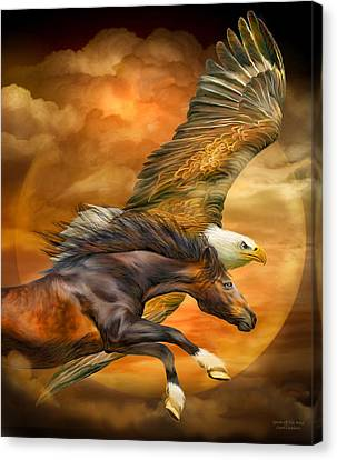 Canvas Print featuring the mixed media Eagle And Horse - Spirits Of The Wind by Carol Cavalaris