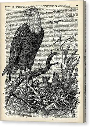 Reverse Art Canvas Print - Eagle And Its Nest  by Jacob Kuch