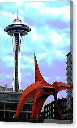 Canvas Print featuring the photograph Eagle And Space Needle Seattle by Yulia Kazansky