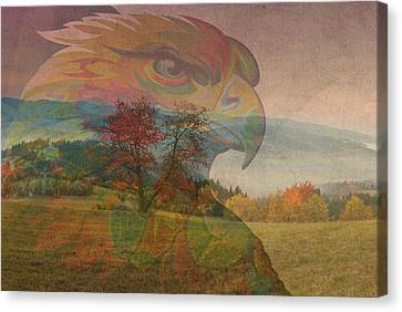Eagle Art Over Gorgeous American Countryside Imagery Canvas Print by Design Turnpike