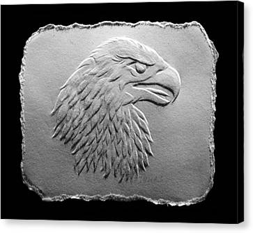 Canvas Print featuring the relief Eagle Head Relief Drawing by Suhas Tavkar