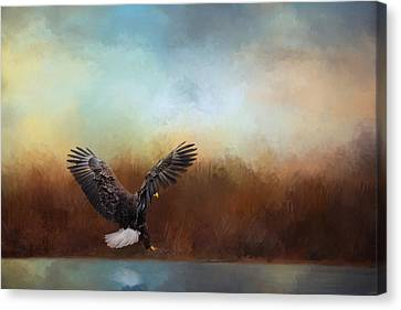 Eagle In Flight Canvas Print - Eagle Hunting In The Marsh by Jai Johnson