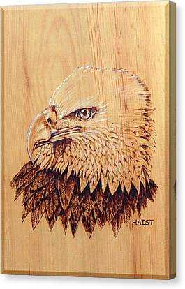Canvas Print featuring the pyrography Eagle Img 2 by Ron Haist