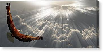 Eagle In Flight Above The Clouds Canvas Print by Bruce Rolff