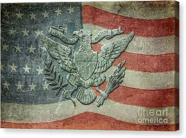 Canvas Print featuring the digital art Eagle On American Flag by Randy Steele