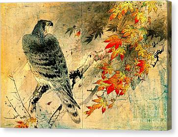 Eagle On Maple Branch 1884 Canvas Print by Padre Art