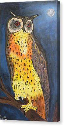 Canvas Print featuring the painting Eagle Owl by Eric Kempson