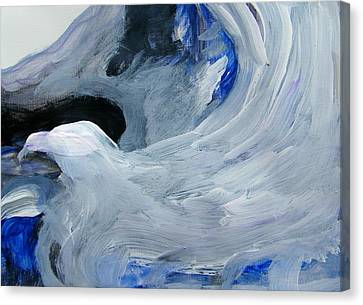 Eagle Riding On Waves Canvas Print