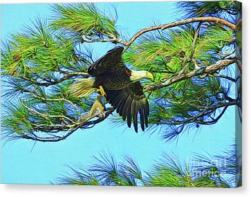 Canvas Print featuring the painting Eagle Series Food by Deborah Benoit