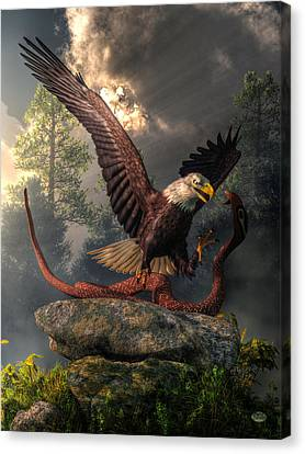 Daniel Canvas Print - Eagle Vs Cobra by Daniel Eskridge
