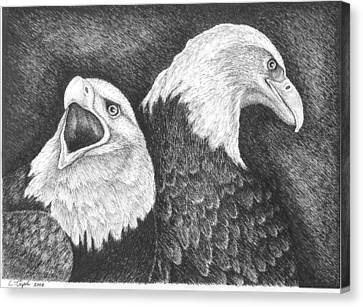 Eagles In Ink Canvas Print