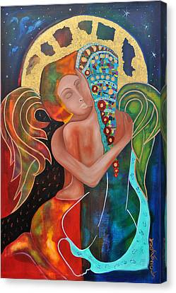 Eangels Kiss Canvas Print by Jeanett Rotter