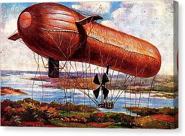 Early 1900s Military Airship Canvas Print by Peter Gumaer Ogden