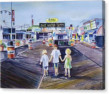 Seaside Heights Canvas Print - Early Birds by Diane Hutchinson